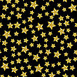 Yellow Star Seamless Pattern Isolated On Black Background
