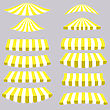 Yellow Tents Isolated On Grey Background For Your Design