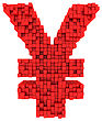 Yen Currency Symbol Made From Matrix Of Red Cubes Isolated On White