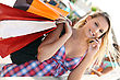 Expressions Youg Busy Woman Shopping stock photography