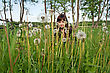 Young Baautiful Woman In Meadow Of Dandelions