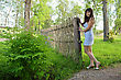 Young, Beautiful Sexy Woman Stand In Farmstead stock image