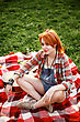 Young Beautiful Smiling Woman Dressed In Pin Up Style Sitting On A Red Plaid On Green Grass In Summer Park