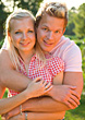 Young Blonde Couple Outdoors stock photo