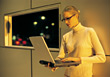 Young Blonde Geek with Laptop stock photography