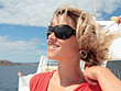 Young Blonde Woman On Cruise Ship stock image