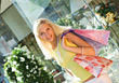 Young Blonde Woman with Shopping Bags stock photo
