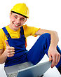 Business People & Computer Young Construction Worker With Laptop Showing Good Sign stock image