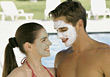 Young Couple at Spa stock image