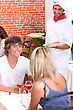 Pizza Young Couple Eating Out In A Pizzeria stock photo