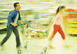 Young Couple Food Shopping stock photography