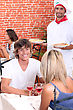 Pizza Young Couple On A Date In A Pizzeria stock photography