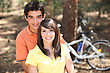 Young Couple Outdoors With Bicycles stock photography