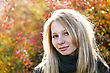Young Cute Girl With Long Dark Hairs. Fall. Autumn. Outdoor Session stock photo