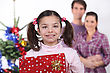 Young Family At Christmas stock image