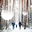 Young Family Having Fun With A Dog In Winter Forest On Vacations. Copy Space For Text. Selective Focus stock image