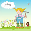 Young Gardener Who Cares For Flowers stock illustration