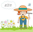 Young Gardener Who Cares For Flowers stock vector