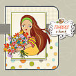 Young Girl With A Bunch Of Flowers, Vector Illustration