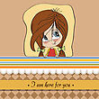 Young Girl Smiling, Cute Vector Illustration stock illustration