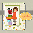 Young Girl With Gift, Vector Illustration stock vector