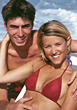 Young Happy Couple on Honeymoon stock photo
