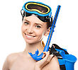 Young Happy Woman With Snorkel Equipment, Isolated Over White stock photo
