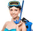 Smiling Young Happy Woman With Snorkel Equipment, Isolated Over White stock image