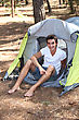 Camper Young Man Camping stock photo