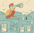Young Man Looking Through A Telescope And Sitting On Roof Of Building.Vector Cartoon Illustration stock illustration