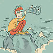 Young Man Looking Through A Telescope And Sitting On Mountains.Vector Illustration stock illustration