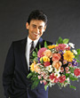Young Man with Flower Bouquet