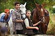 Harness Young People Horseriding stock image