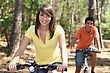 Young People Riding Bikes stock photography