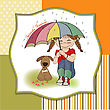 Young Pretty Girl And Her Dog, Friendship Card In Vector Format
