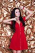 Young Sexy Brunette Wearing Red Dress On Golden Background stock photo