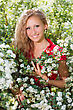 Young Smiling Lady Posing Near The Flowering Bush stock photography