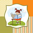 Young Sweet Girl Reading A Book stock illustration