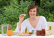 Young Woman Eating Healthy Breakfast stock photography