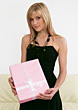 Birthday Young Woman Holding Gift Box stock image