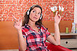 Young Woman Listening Music At Home stock photography