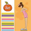 People Eating  Young Woman On Scale, Vector Illustration stock vector