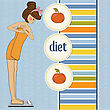 People Eating  Young Woman On Scale, Vector Illustration stock illustration