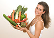 People Eating  Young Woman with Plate of Vegetables stock photography