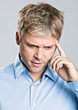 Negative Expressions Young Worried Looking Man stock photo