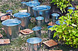 Drought Zinc Bucket Of Water Standing On The Grass stock photo