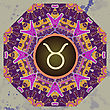 Zodiac Sign Taurus. What Is Karma? Vector Circle With Zodiac Signs On Ornate Wallpaper. Oriental Mandala Motif Square Lase Pattern, Like Snowflake Or Mehndi Paint. Watercolor Elements On Background