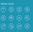 Zodiac Signs. Thin Line Vector Icons. Illustration On Blue Background