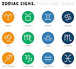 Zodiac Signs. Thin Line Vector Icons. Illustration On White Background